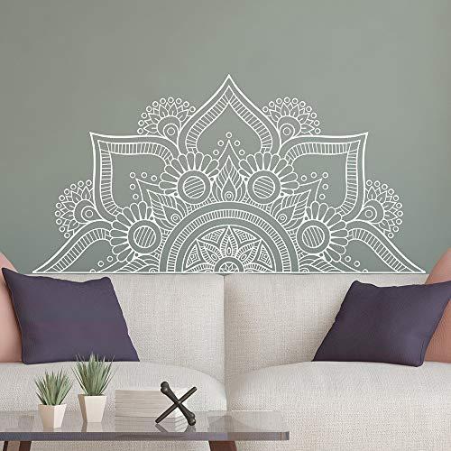 Nuevo diseño de media mandala pegatinas de pared para el dormitorio decoración para el hogar cabecera calcomanías de vinilo flor Mandala tatuajes de pared yoga pared blanca 82X42 CM