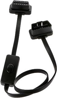 Biuuu 車の延長ケーブルとスイッチOBD2延長コード麺線、16ピンOBD2 OBDIIスイッチタイプのアダプタコネクタ