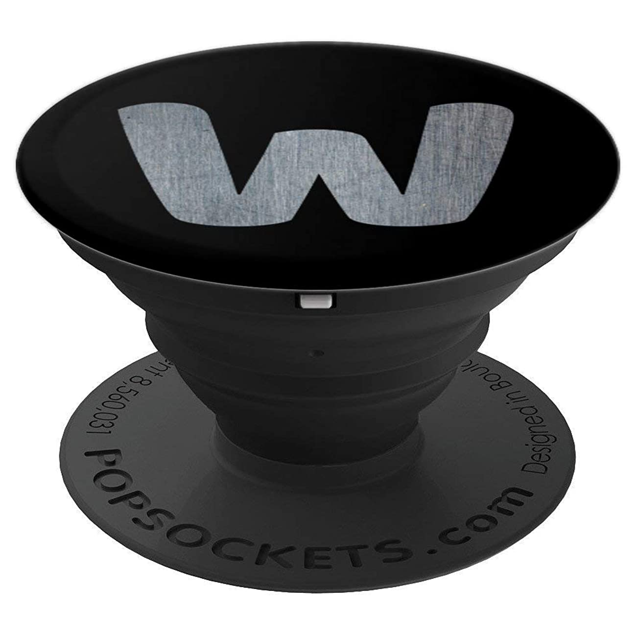 Letter W monogram black phone grip, initial W men design - PopSockets Grip and Stand for Phones and Tablets