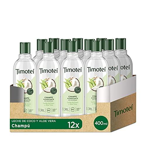 Timotei Champú Hidratante Para Cabello Fino y Seco Leche de Coco y Aloe Vera, con Limpiadores de Origen Vegetal, 95% de Origen Natural, sin Siliconas 400 ml Pack de 12