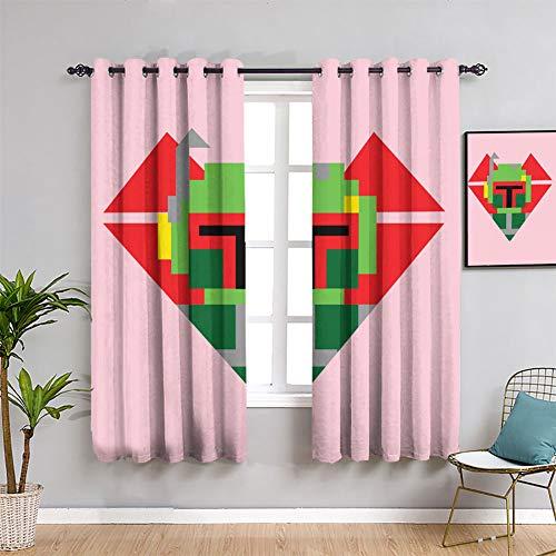 Love Star Wars Fett - Juego de cortinas opacas con aislamiento térmico para dormitorio de los niños (63 x 72 pulgadas)
