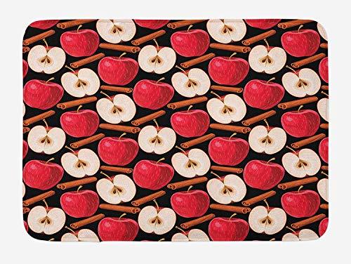 Casepillows Appelbadmat, kaneelstokken en gehalveerde dranken Exotische specerijen Landbouw, Pluche Badkamer Decor Mat met Non Slip Backing, 23,6 x 15,7 Inch, Kaneel Rood Crème