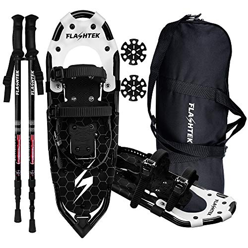"FLASHTEK Lightweight Snowshoes for Men Women Youth, Aluminum Terrain Snow Shoes for Hiking and Heel Lift Riser for Mountaineering with Trekking Poles and Carrying Tote Bag (Black, 25"")"