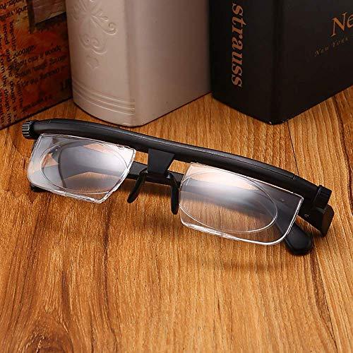 Fokus Einstellbare Lesebrille Myopia Brille -6D bis + 3D Dioptrien Vergrößerung Variabler Stärke, manuelle Fokussierung