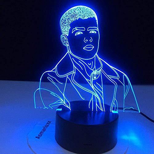 Luz de noche inalámbrica Bluetooth portátilSinger Lunay 3D Luz de noche LED para decoración del hogar Luz de noche colorida Regalo para fanáticos Dropshipping Lámpara 3D Celebrity