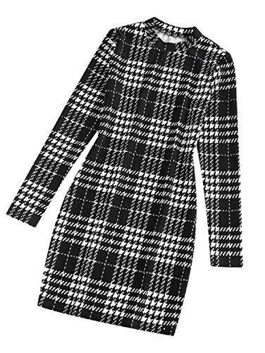 ZAFUL Damen Kleid, Plaid Houndstooth Bodycon Mini Kleid Mock Neck Langarm Tight Kleid (Weiß-XL)