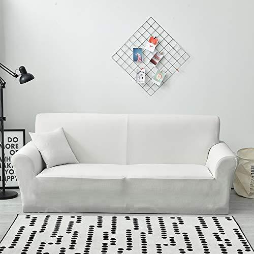 Lanqinglv Weiß Elastisch Jacquard Sofaüberwurf Wasserabweisend Sofa Überwürfe 1/2/3/4 sitzer Sofabezug Einfarbig Couchbezug Sesselbezug rutschfest Abwaschbar