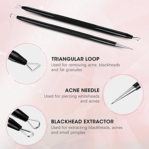 Ellesye Blackhead Remover,6 PCS Pimple Popper Tool with a Metal Storage Box,Stainless Steel Pimple Extractor Blackhead Removal Tool Risk Free Treatment for Blemish,Whitehead Popping,Blemish Acne Zit