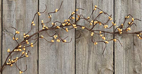 TAKAZOON Floral Décor Supplies for Berry Garland Old Gold Pip Berries Wispy 4.5 ft Crafts Primitive Farmhouse for Primitive Fall Decor, Christmas Decorations.