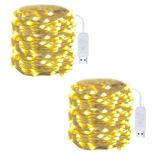 Yogoo 100 Led USB Powered LED Fairy String Lights, Waterproof Starry Milk White Bulb Copper String Lights for Bedroom Indoor Outdoor Wedding Holiday Christmas Décor (33FT, Warm White)