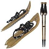 ALPIDEX Raquetas Nieve Estilo Madera Vintage Bolsa Transporte Bastones Carbono Opcional, Color:Brown Timber con Bastones