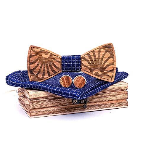 XLY Der Vorgebundene Bogen Der Männer Massivholz Fliege Set, Europa Amerika Herren Accessoires Holz Handgefertigte Herren Holz Fliege Krawatten Hochzeitsfeier,2