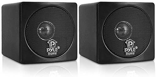 """4"""" Mini Cube Bookshelf Speakers - Paper Cone Driver, 200 Watt Power, 8 Ohm Impedance, Video Shielding, Home Theater Application and Audio Stereo Surround Sound System - 1 Pair - Pyle PCB4BK (Black)"""