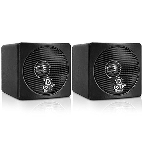 3' Mini Cube Bookshelf Speakers - 100W Small Bookshelf Speakers w/ 3' Paper Cone Driver, 8 Ohm - Passive Audio Book Shelf Speaker Pair For Home Theater Stereo Surround Sound - Pyle Home PCB3BK (Black)