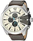 Diesel Men's Mega Chief Stainless-Steel and Olive Leather Chronograph Watch DZ4464