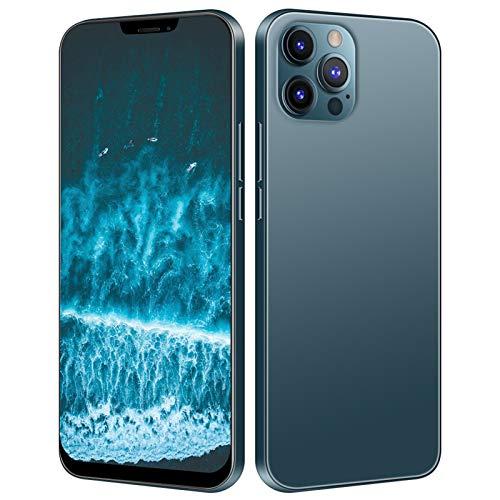 Fockety I12 Pro MAX Smartphone, 12 + 512GB 6.7in HD Screen Reconocimiento Facial Teléfono Inteligente con 16MP + 13MP Pixel, Tarjetas duales en Espera, Tarjeta de Memoria de 128 GB para Android(EU)