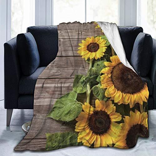 Nongmei Manta de Franela con patrón Personalizado,Madera Rústico Floral Primavera Flor Floreciente,Manta de Felpa Suave y cómoda 50'x60'
