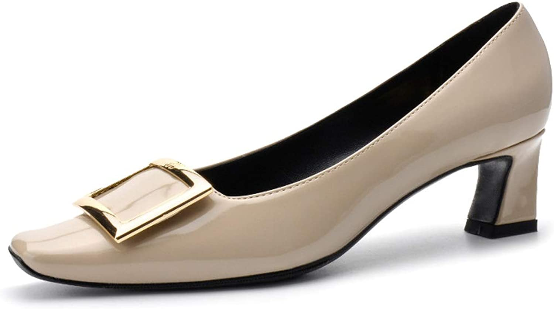 Damen Closed Toe Slip on Pumps Büro Blockabsatz Blockabsatz Schnalle Kleid Pumps Niedriger Absatz Frühling Sommer Lackleder Sandalen Schuhe  Ladenverkauf Outlet