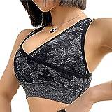 LIDABAO Survêtement de sport pour femme sans manches, soutien-gorge push-up rembourré avec...