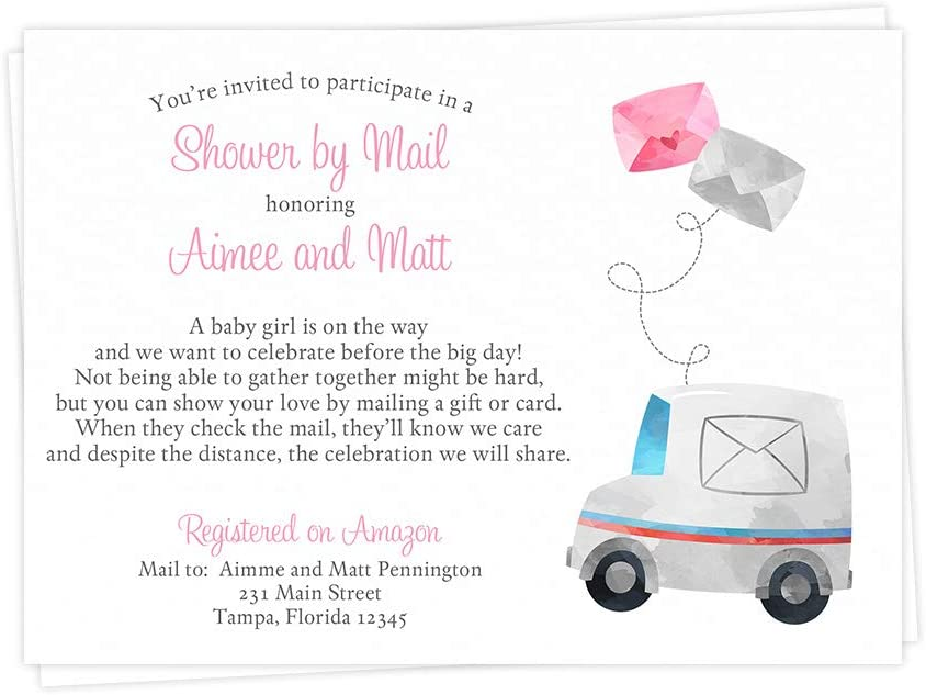 Amazon Com Baby Shower By Mail Invitations Customized Virtual Shower Invites Girls It S A Girl Pink Facebook Zoom Facetime Skype Remote Cards Long Distance Virtual Party Truck Envelopes Custom Cards 12 Count