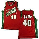 QAZWSX - Camiseta de baloncesto para hombre, diseño de Seattle Supersonics 40 # Shawn Kemp Swingman Edition de malla unisex sin mangas, para deportes al aire libre