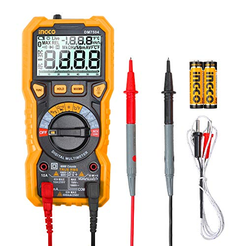INGCO Tester Digital Multimeter TRMS 6000 Counts with Double Fuse Measures AC/DC Voltage AC/DC Current Resistance Capacitance Frequency Diode Test Continuity Test Temperature DM7504