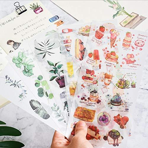 BLOUR 3PC Travel Animals Cake Handbemalte dekorative Vintage Journal Tagebuch Papierblume Pflanze Aufkleber Scrapbooking Flakes Briefpapier