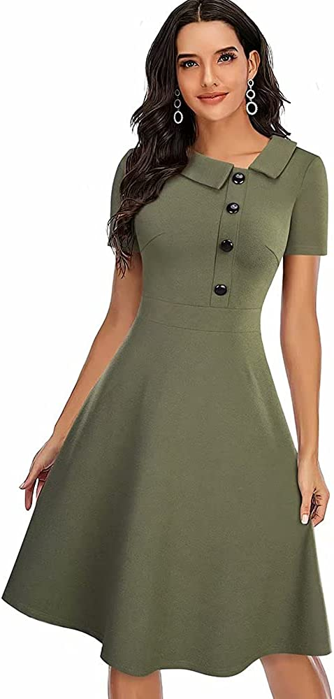 Hami House HAM Women's 0 Neck Short Sleeve Cocktail Party Prom Wedding Guest A-Line Dress