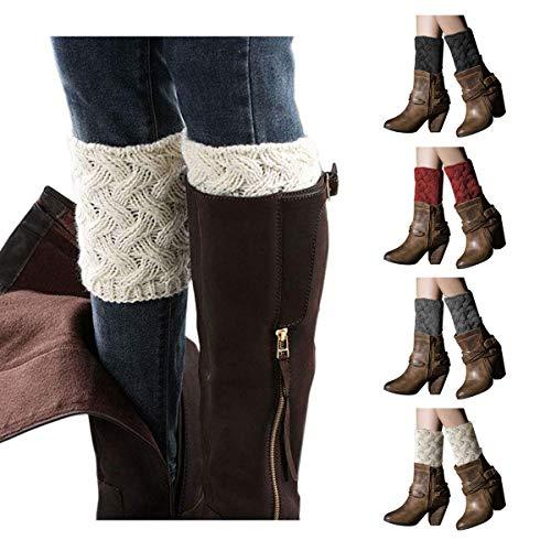 LADES DIRERCT Damen Stulpen Socken - Winter Kurze Stricken Stulpen Gestrickte Beinwärmer Leg Warmers Socken Stiefel Boot Abdeckung, Schwarz+weiß+grau+weinrot, M