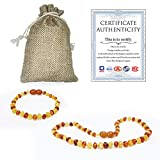 Temgee Baltic Amber Necklace Gift Set - Raw Amber Necklace and Bracelet - Anti-Flammatory, Pain Relief,multistone14inch+6inch
