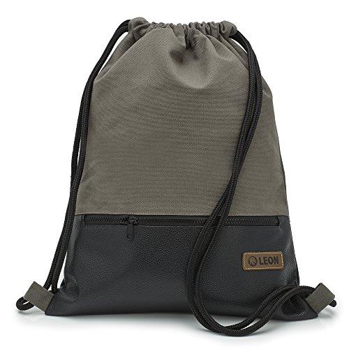 By Bers LEON Turnbeutel, große Reißverschluss Außentasche, mit Innentaschen Rucksack Tasche Damen Herren & Teenager Gym Bag Draw String (Grau_Schwarz_PU)