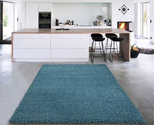 """Sweet Home Stores Cozy Shag Collection Turquoise Solid Shag Rug, 5'3"""" X7', Blue"""
