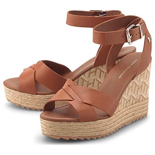 Tommy Hilfiger Damen Sandalette Raffia High Wedge Sandale Leder braun Gr. 38