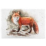 QYUESHANG Puzzle da 1000 Pezzi, Volpe Rossa Disegnata a Mano con pennellate a Coda folta Tod Mammal, Grande Opera d'Arte di Gioco di Puzzle per Famiglie per Adulti Adolescenti