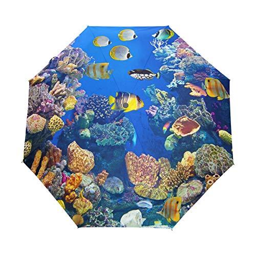Kleiner Reiseschirm Winddicht Outdoor Regen Sonne UV Auto Compact 3-Fach Regenschirmabdeckung - Unterwasser Biologische Landschaft