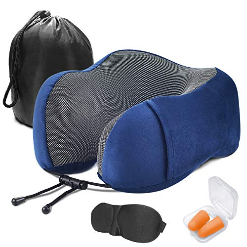 DAORANGE Travel Pillow, Best Memory Foam Neck Pillow and Removable Washable Soft Breathable Pillowcase, Airplane Travel Kit Pillow with 3D Contour Eye Mask, Earplugs and Reusable Bag (Blue)