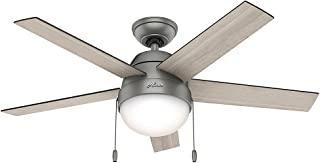 Hunter Indoor Ceiling Fan with light and pull chain control - Anslee 46 inch, Matte Silver, 59267