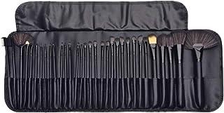Lurrose 32ピースキットウッドポールメイクアップブラシソフト美容ツール高品質繊維ブラシ付きロールパッケージで女性女の子(黒)