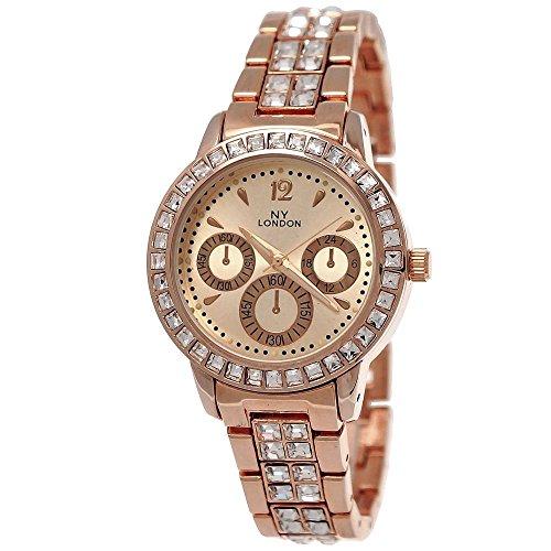 Elegante Ny London Damen-Uhr Strass Analog Quarz Armband-Uhr in Rose-Gold Chronograph Optik Uhr