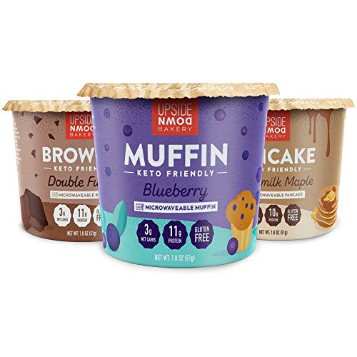 Upside Down Bakery Variety 12-Pack - Brownie, Muffin, Pancake (3 Net Carbs) - High Protein Snacks, Microwavable Low Carb Food - Just Add Water - Low Sugar - Gluten Free - Single Serve Cups