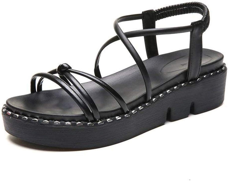Women's Ladies Casual Lightweight Sandal shoes SlipOn Loafers High Heel Summer Beach Open Toe Flatform Slim Buckle Pu Sandal Flip Flops for Women, LX