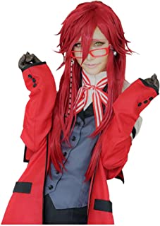 TOKYO-T Black Butler Cosplay Grell Sutcliff Long Red Wig Costume (Wig or Eyeglasses)