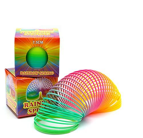 L+H Regenbogenspirale groß XXL im 2er Set | Premium QUALITÄT | Ø 7,5 cm | magische Bunte Treppenläufer Slinkys in Neonfarben geeignet für Kindergeburtstag als Mitgebsel für Mädchen & Jungen