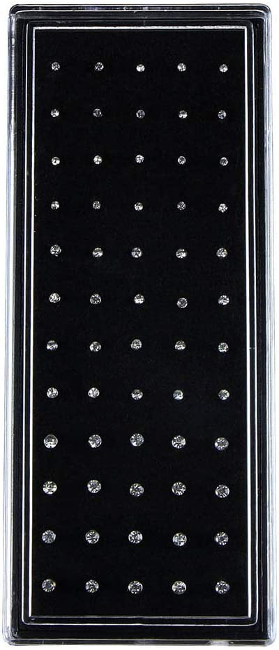 HEART SPEAKER 60Pcs/Set Bent Cubic Zirconia Stainless Steel Nose Studs Ring Piercing Jewelry White