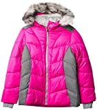 ZeroXposur Girls Puffer Jacket Fleece Lined Winter Coat with Lined Hood and Removable Faux Fur Trim (Lollipop, X-Large)