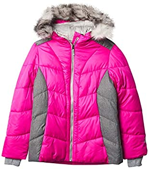 ZeroXposur Girls Puffer Jacket Fleece Lined Winter Coat with Lined Hood and Removable Faux Fur Trim  Lollipop X-Large