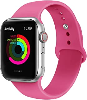 AdMaster Sport Band Compatible for Apple Watch 44mm 40mm 42mm 38mm, Soft Silicone Strap Replacement iWatch Bands Compatible for Apple Watch Sport,Series 4, Series 3, Series 2, Series 1 S/M M/L