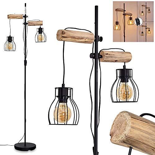 Stehlampe Gondo, Vintage Stehleuchte aus Metall/Holz in Schwarz/Natur, 2-flammig, 2 x E27-Fassung, max. 40 Watt, Bodenleuchte im Retro/Vintage Design in Gitter-Optik m. An-/Ausschalter, LED geeignet