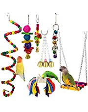 Bird Swing Toys Parrot Hanging Toys with Bell Pet Bird Cage Hammock Swing Toy (7pcs/set)
