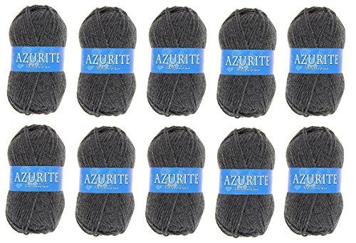 les colis noirs lcn Lot 10 Pelote de Laine Azurite 100% Acrylique Tricot Crochet Tricoter - Gris - 3077
